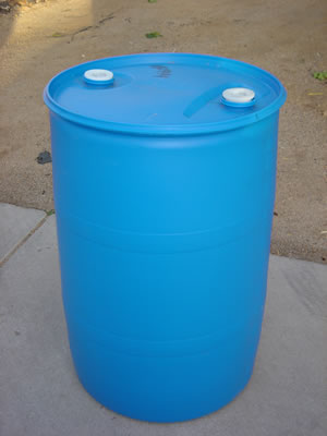 Blue storage barrels